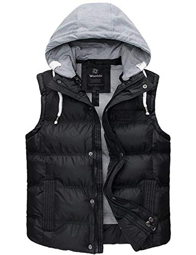 Wantdo Womens Warm Quilted Puffer Vest Winter Coat Outwear with Hood Black Small