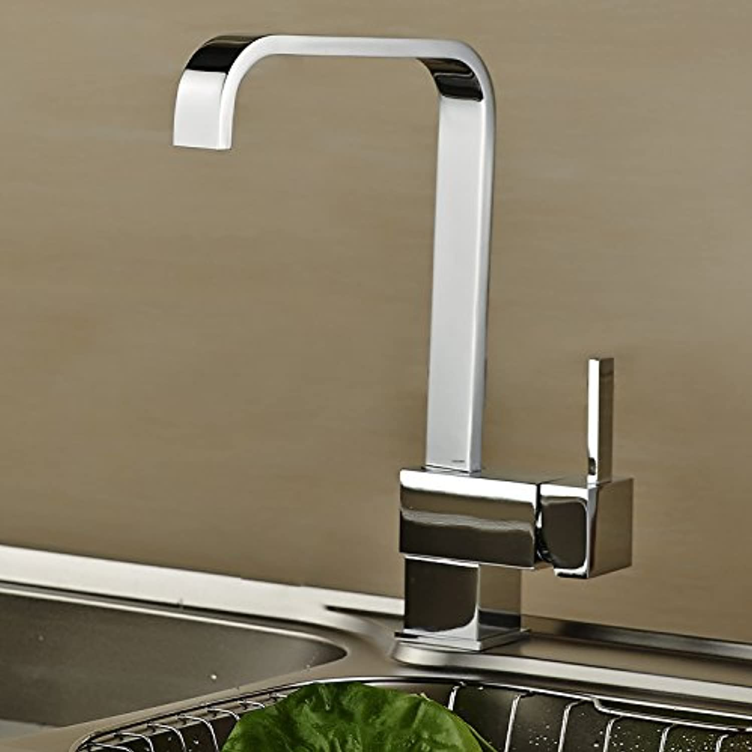 Commercial Single Lever Pull Down Kitchen Sink Faucet Brass Constructed Polished Kitchen Faucet Copper Kitchen Faucet Four Square Seven Word Dishwashing Sink Sink