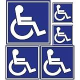 Autocollant Handicapé set de 5 fond bleu Hancicap Handicaped Mobilité logo 5...