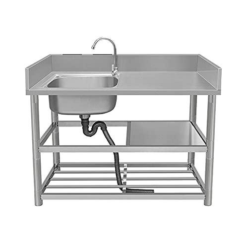 Kitchen Sink. Fregadero De Lavado Comercial Al Aire Libre Cocina Interior Fregadero Independiente Individual con Grifo para Lavadero Garaje Bar Restaurante