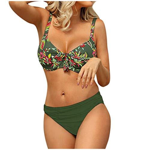 HWTOP Damen Badeanzug Rüschen Bedruckt Floral Halfter Tankini Set Baderock Damen Tankini Push up Bademode #6 Grün XL