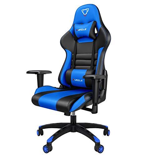 Furgle Office Gaming Chair Silla de Carreras con Respaldo Alto y reposabrazos Ajustables Piel sintética Silla de Videojuegos giratoria con Modo balancín (Azul & Negro)