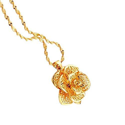 Candyhouse Dnicee Halskette Damen in 24 Karat vergoldet, Goldkette Damen Geschenk, mit Anhänger Gold Blume Detailliertes Design.