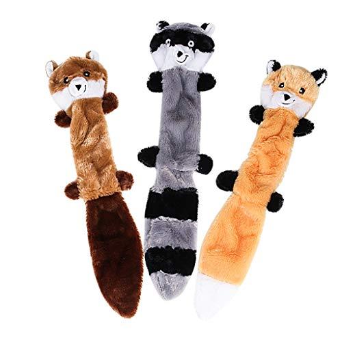 TwoCC Hundespielzeug Spielen Lustige Haustier Welpen Kauen Quietschende Plüschtöne Spielzeug Waschbär Eichhörnchen 3 Stücke