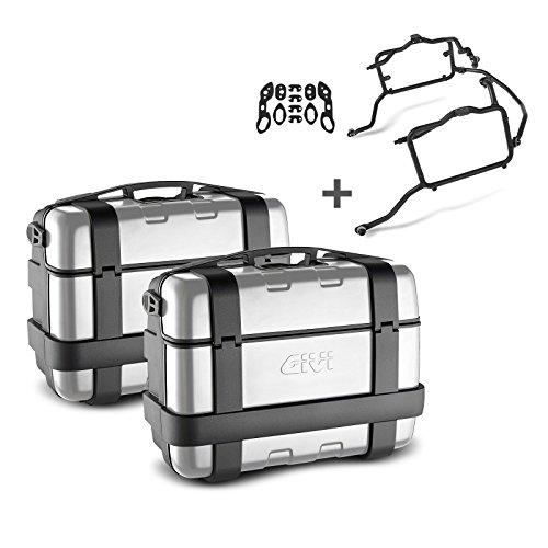 Juego de maletas laterales Set Yamaha FZ6 Fazer 04-06 Givi Monokey Trekker TRK33N negro con cubierta de aluminio, kit adaptador incluida