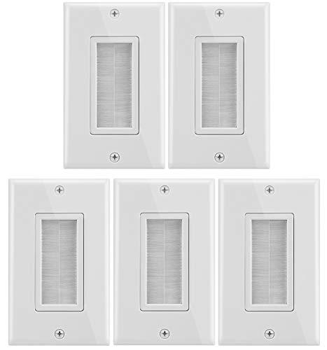 Fosmon 1-gängad väggplatta (5-pack), borststil öppning genomströmning lågspänning kabelplatta installation i väggen för högtalarsladdar, koaxialkablar, HDMI-kablar eller nätverk/telefonkablar