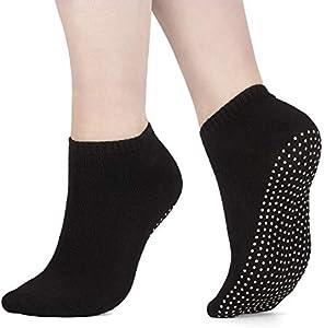AllThingsAccessory® 3 x Pairs Non Slip Yoga Pilates Socks Martial Arts Fitness Dance Barre. Anti-slip/Non-slip,Full Toe Ankle Fall Prevention Grip Socks EU40/45 Black