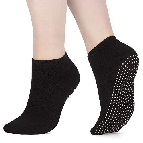 AllThingsAccessory® 3 x Pairs Non Slip Yoga Pilates Socks Martial Arts Fitness Dance Barre. Anti-slip/Non-slip,Full Toe Ankle Fall Prevention Grip Socks EU40/45 Black