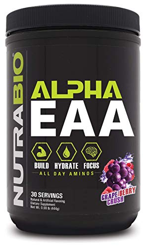 NutraBio Alpha EAA - All-Day Aminos - Recovery, Energy, Focus, and Hydration Supplement - Full Spectrum EAA BCAA Matrix, Electrolytes, Nootropics, Coconut Water - 30 Servings - Grape Berry Crush
