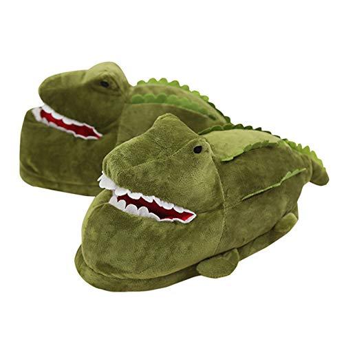 Bewinch Divertidos Zapatillas De Novedad, Dibujos Animados Lindo Peluche Zapatillas De Cocodrilo Invierno Cálido Interior Peludo Zapatillas Regalo para Niñas,Verde