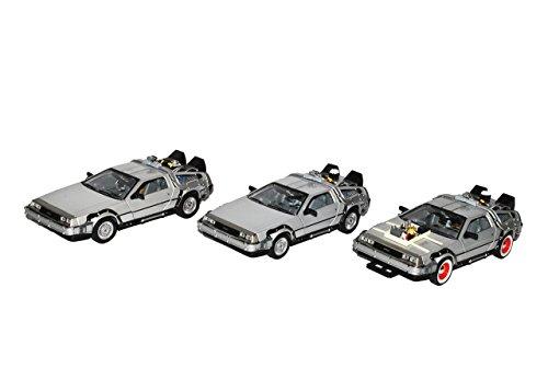 Welly 3er Set Delorean 1 und 2 und 3 DMC Zurück in die Zukunft 3 Teile 1/24 Modell