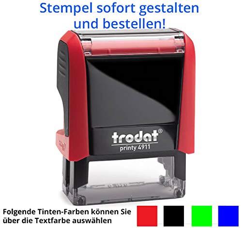 Stempel Trodat Printy 4911 (38x14 mm), für 4 Zeilen, in verschiedenen Farben, gleich Online gestalten!!! (rot)
