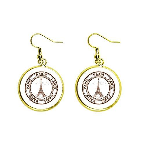 Pendientes colgantes de oro con diseño de Torre Eiffel de París Francia