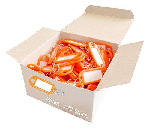 Wedo 262803406 Schlüsselanhänger Kunststoff (mit S-Haken, auswechselbare Etiketten) 100 Stück, orange