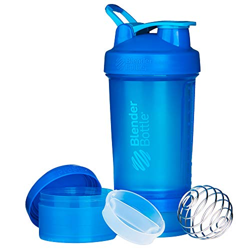 BlenderBottle ProStak Shaker per proteine 650 ml, Cyan, 650 ml