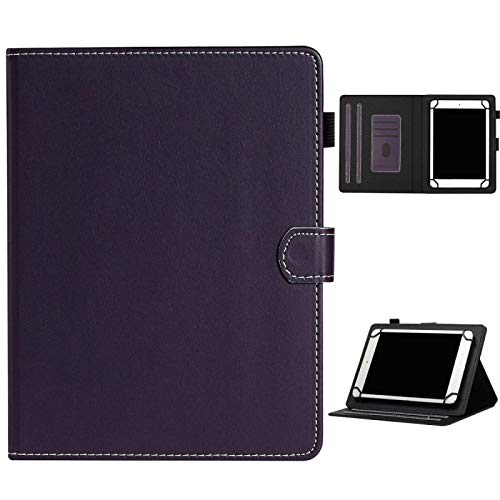 SHISHUFEN Funda de piel para tablet de 10 pulgadas, universal, con ranuras para tarjetas, soporte y ranura para bolígrafo, color sólido