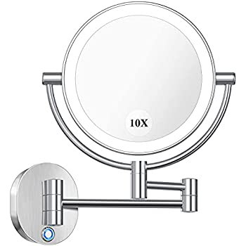 AmnoAmno LED Wall Mount Makeup Mirror with 10x Magnification,8.5   Double Sided 360° Swivel Vanity Mirror with 13.7  Extension and Adjustable Light for Bathroom or Bedroom