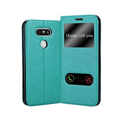 Cadorabo Funda Libro para LG G5 en Turquesa Menta - Cubierta Proteccíon con Cierre Magnético, Función de Suporte y 2 Ventanas- Etui Case Cover Carcasa