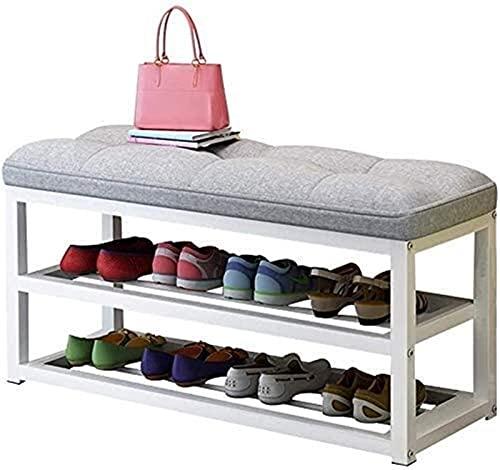 KCGNBQING Zapato Estante zapatería Estante Industrial Zapato con Asiento cojín de Hierro Estructura Corredor Entrada Sala de Estar Sala de Almacenamiento