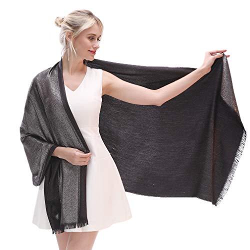 LMVERNA Women's Sparkling Metallic Reversible Pashmina Shawls and Wraps Scarf for Evening Dresses(Black-Silver)