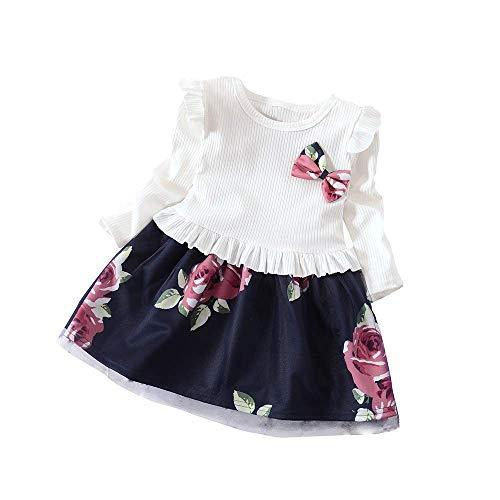 Julhold Peuter Baby Meisjes Lange Mouw Bloemenprint Jurk Outfits Kleding Casual, Dagelijks, Feestzomer