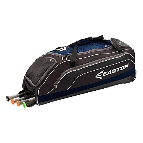 EASTON E700W Bat & Equipment Wheeled Bag | Baseball Softball | 2020 | Navy | 4 Bat Compartment | Vented Pockets - Minimize Odor & Quick Dry | Lockable Zippered Pockets | Fence Hook