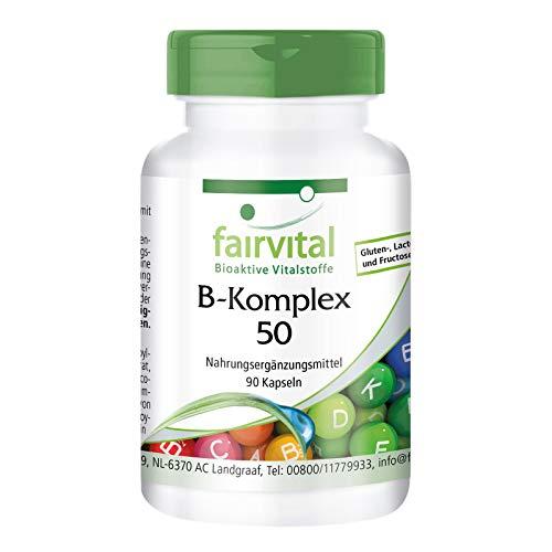 Vitamina B Complex 50 - VEGANO - Dosis elevada - 90 Cápsulas - complejo de la vitamina B con colina e inositol - Calidad Alemana
