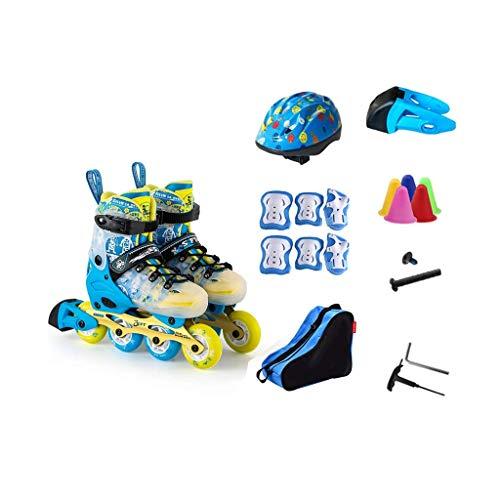 Taoke Inline-Skates, Erwachsene einreihig Skates Professionelle Männer und Frauen Skates Full Set Voll Flash (Farbe: # 2, Größe: S (3-7 Jahre alt) 28-31 Meter) dongdong