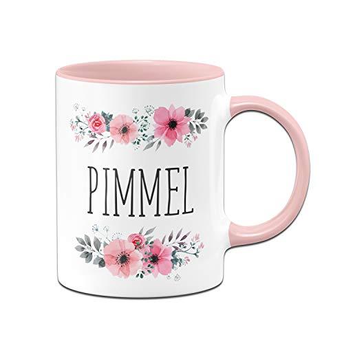 Tassenbrennerei Tasse mit Spruch Pimmel blumig - Kaffeetasse lustig mit Beleidigung - Spülmaschinenfest (Rosa)