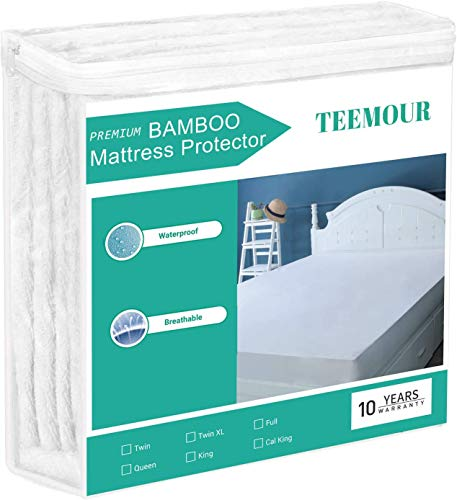 """King Size Bamboo Cooling Mattress Protector Hypoallergenic 100% Waterproof Mattress Protector Bed Mattress Pad Cover Fitted 18""""-21"""" Deep Pocket - Bed Sheet Cover Breathable, Noiseless, Vinyl Free"""