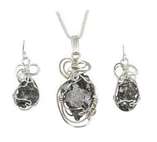 Meteorite Jewelry Pendant Necklace Earrings Set Stainless Steel