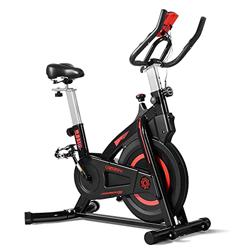 ONETWOFIT Cyclette Casa Cyclette indoor con display, sellino e manubrio regolabili Ciclismo Spinning per allenamento cardio domestico Volano da 6 kg Adatto per meno di 185 cm o meno di 127 KG