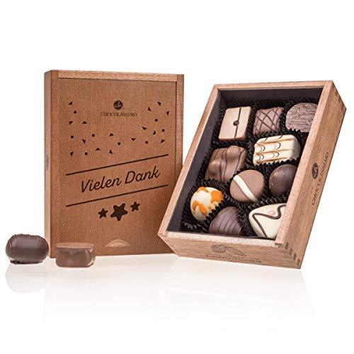 ChocoElegance - Vielen Dank | 10 Pralinen | Holzkästchen | Schokolade | Handgemacht | Das Dankeschön für Frauen und Männer | keine Konservierungsstoffe
