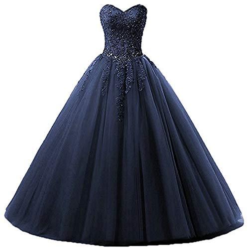 Zorayi Damen Liebsten Lang Tüll Formellen Abendkleid Ballkleid Festkleider Marineblau Größe 32