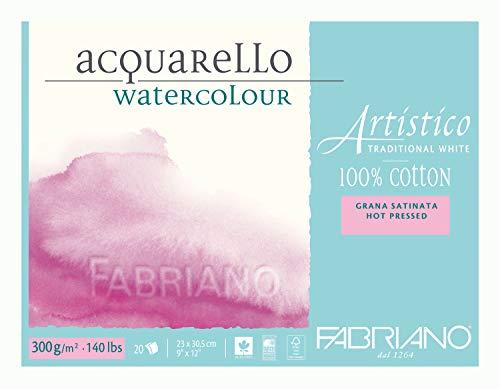 Fabriano Artistico Acqarello - Papel para acuarela prensado en caliente, 20 hojas