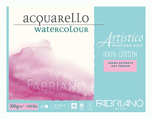Fabriano Artistico 140 lb. Hot Press 20 Sheet Block 9x12' - Traditional White
