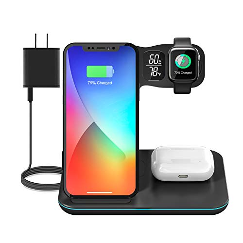 Wireless Charging Station, 3 in 1 Wireless Charger Stand 15W Fast Charging Pad, Qi-Certified Dock Compatible with iPhone 12/11/Pro/Max/XR/XS/X, Apple Watch, AirPods Pro(QC 3.0 Adapter Included)
