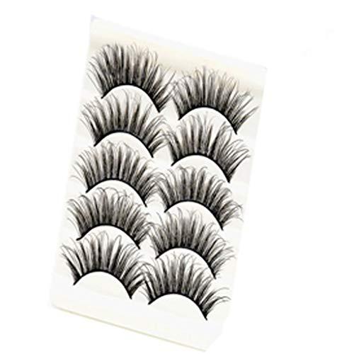 YBWZH 5 Paires Faux Cils Réutilisables Moelleux Bande D'Oeil Cils Professionnels Cils pour le visage réutilisables professionnels pour tous les yeux