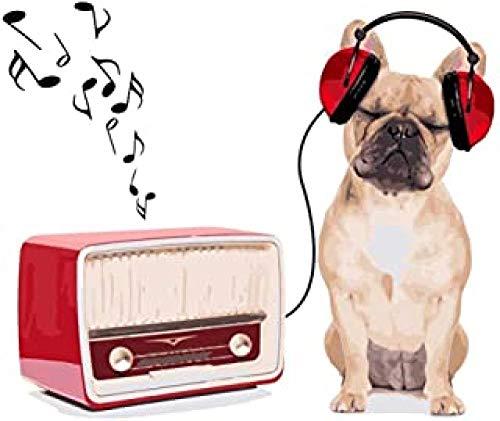 WOMGD® Hond met koptelefoon luisteren naar muziek Puzzel 1000 stukjes, houten puzzels, kunst voor kinderen Intellectuele uitdaging Educatief spel Diy Oil Series
