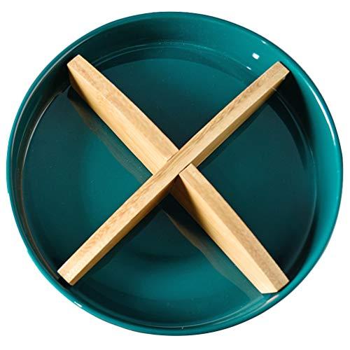 TOPBATHY Keramik Serviertablett Geteilt Servierteller für Küche Essen Snack Dessert Vorspeise Aufbewahrungsgeschirr mit Gitter (Dunkelblau)