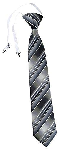 TigerTie Security Sicherheits Krawatte in grau silber anthrazit hellgrau gestreift - vorgebunden mit Gummizug