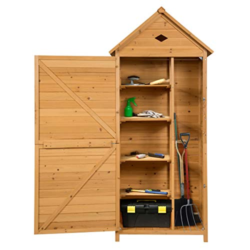 GYMAX. 5-layer Outdoor Storage Cabinet with Latch, Triangular Roof, Double Doors Open, Wooden Tool Utility Shed for Garden, Yard, Farm