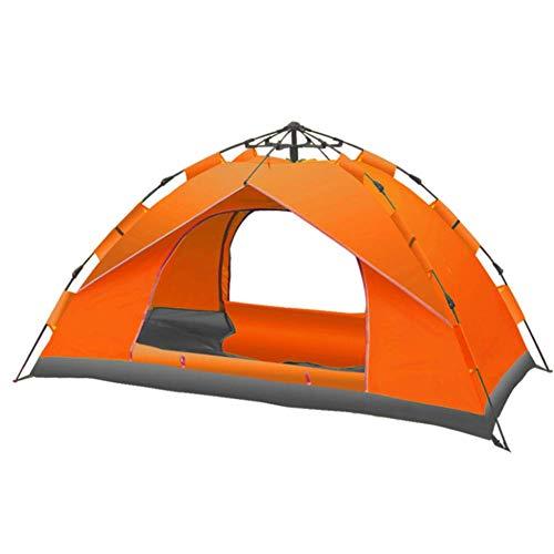 LUSHUN Camping Zelt, 3-4 Personen Wasserdichtes Kuppelzelt,doppelwandig, Igluzelt mit Vorzelt, für Familiengarten Camping Familiengarten Angeln,Orange