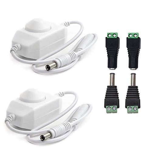 2pcs DC 12V-24V 6A PWM Dimmer Schalter Kontrolleur LED Dimmer Controller LED Streifen In-line Dimmschalter LED Band Drehdimmer LED Stripe Schnurdimmer für LED Strip oder andere LED Beleuchtung, Weiß