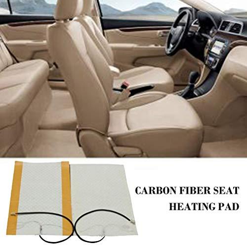 Qiaoxiao 2ST 12V Universal-Sitzheizung Kissen Heizkissen Carbonfasermatte Heizkissen Autozubehör 48X27Cm Autositz
