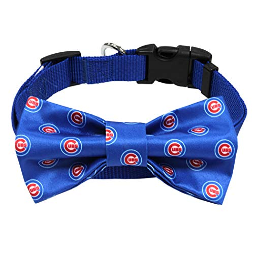 MLB Chicago Cubs Pet Collar with Removable Bow, Team Color, Small/Medium