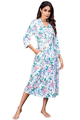 Unibelle dames ochtendjas van katoen 3/4 mouwen badjas nachtkleding Kimono saunamantel met diepe V-hals pyjama S-XXL