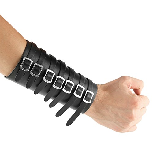 HZMAN Leather Gauntlet Wristband Medieval Bracers Wrist Band Wide Bracer Arm Armor Cuff, 1 Pcs (Black)