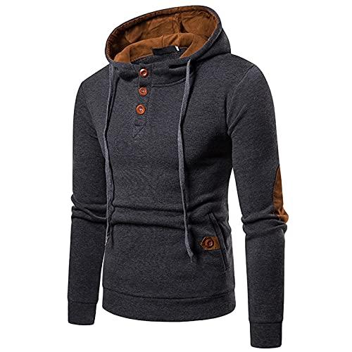 Loiy Sudadera con capucha para hombre, de manga larga, de ante de color, botones con cordón, suéter, abrigo, chaqueta con capucha, gris oscuro, L