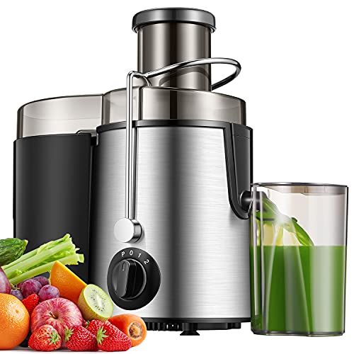 Licuadoras para Verduras y Frutas de Acero Inoxidable, 27000RPM, 3 Modos de Velocidad, 65MM de Boca Ancha, Licuadora Exprimidor Zumo con Función Anti-Goteo y Motor Silencioso, Libre de BPA